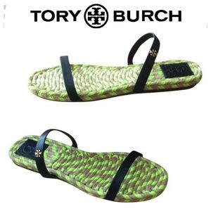 Tory Burch Two-Band Flat Espadrille Sandals